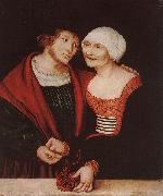 CRANACH, Lucas the Elder Amorous Old Woman and Young Man gjkh oil painting picture wholesale