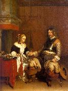 Gerard Ter Borch Soldier Offering a Young Woman Coins Sweden oil painting reproduction