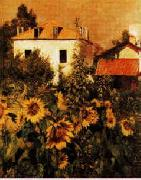 Gustave Caillebotte Sunflowers, Garden at Petit Gennevilliers Sweden oil painting reproduction