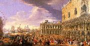 Luca Carlevaris Entry of the Earl of Manchester into the Doge's Palace Sweden oil painting reproduction