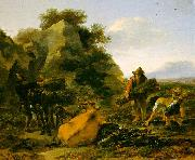 Nicholaes Berchem Landscape with Herdsmen Gathering Sticks Sweden oil painting reproduction