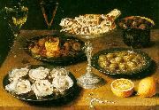 Osias Beert Still Life with Oysters and Pastries Sweden oil painting reproduction