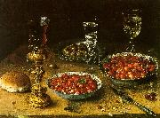 Osias Beert Still Life with Cherries Strawberries in China Bowls Sweden oil painting reproduction