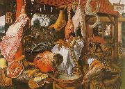 Pieter Aertsen  Butcher's Stall with the Flight into Egypt Sweden oil painting reproduction
